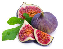 Ripe, beautiful fig  and green leaf Stock Photography