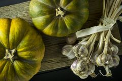Ripe beautiful pumpkin and garlic on a wooden board. Autumn. Vegetables. Harvest. Ripe beautiful pumpkin and garlic on a wooden board. Autumn. Vegetables. Spice Stock Photography