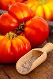 Ripe beefsteak tomatoes and salt in spice scoop Royalty Free Stock Photography