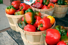 Ripe bell peppers at farmer's market Stock Photos