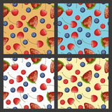 Ripe berries patterns set Stock Images