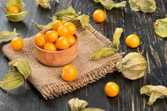 Ripe berries physalis. Bowl with physalis and scattered berries on the table stock image