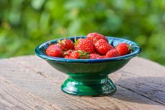 Ripe berries of strawberry in vase Royalty Free Stock Photography