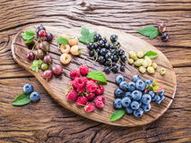 Ripe berries in the wooden bowl. Stock Photos
