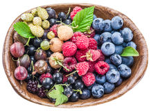 Ripe berries in the wooden bowl on white. Stock Photo