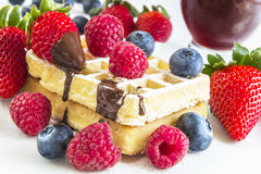 Ripe berry, some of on a waffle and red fruits juice behind. Ripe berry of raspberries, strawberries and blueberries, some of on a waffle and behind red fruits stock image