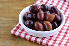 Ripe black kalamata olives Stock Photos