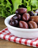 Ripe black kalamata olives Stock Image