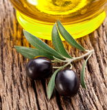Ripe black olives with leaves. Royalty Free Stock Images