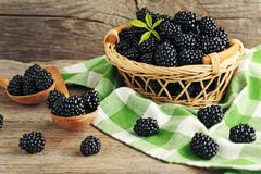 Ripe blackberries. In basket and spoons on wooden table royalty free stock image