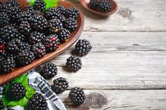 Ripe blackberry and blackberry jam on a wooden table. Top view. Selective focus. Background with copy space royalty free stock photo