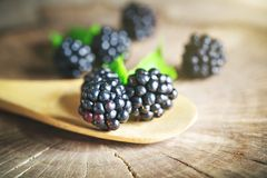 Ripe blackberry on a wooden table. Dark background. Selective focus. Background with copy space royalty free stock images