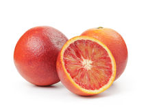Ripe blood red oranges with half isolated on white Stock Photo