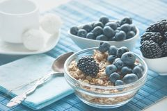 Ripe blueberries and blackberries on white background in white ceramic bowls with granola. Morning healthy Breakfast. royalty free stock image