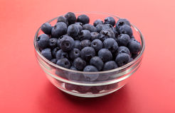 Ripe blueberries in bowl isolated on red Stock Photography