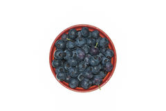 Ripe blueberries in bowl on white background Stock Photography