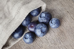 Ripe blueberries falls of sack bag Stock Photography