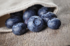 Ripe blueberries falls of sack bag Royalty Free Stock Photos