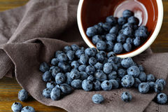 Ripe blueberries on napkin Royalty Free Stock Photography