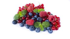 Ripe blueberries, red currants, raspberries with mint isolated on a white. Berries with copy space for text. Red and blue berries. Various fresh summer berries Stock Image
