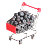 Ripe blueberries in shopping cart isolated. concept. Royalty Free Stock Images