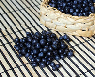 Ripe blueberries in a small basket Royalty Free Stock Image