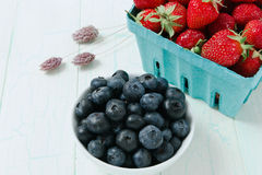 Ripe Blueberries and Strawberries Royalty Free Stock Photography