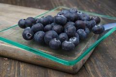 Ripe blueberries, on wood Stock Photo
