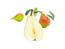 Ripe bright pears with leaves Stock Image