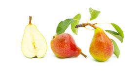 Ripe Bright Pears With Leaves Stock Photography