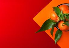 Ripe bright raw tangerines on branch with green leaves in a bowl on graphic duotone orange red background. Chinese New Year. Prosperity luck concept. Clean stock photo
