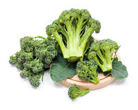 Ripe broccoli crops on leaves Royalty Free Stock Image