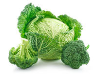 Ripe Broccoli and Savoy Cabbage Isolated Stock Photos
