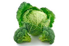 Ripe Broccoli and Savoy Cabbage Isolated Royalty Free Stock Photography