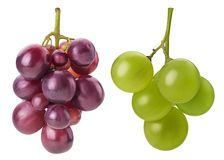 Ripe bunch green and red grapes. Isolated on white background. Clipping Path. Full depth of field royalty free stock photography