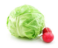 Ripe Cabbage and Radishes Isolated on White Royalty Free Stock Photos