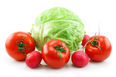 Ripe Cabbage, Radishes and Tomatoes Isolated Stock Photo