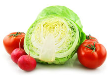 Ripe Cabbage, Radishes and Tomatoes Isolated Royalty Free Stock Photo