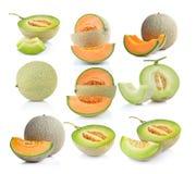Ripe cantaloupe melon   on white background Royalty Free Stock Photos