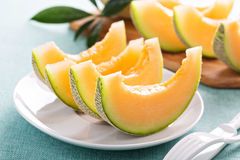 Free Ripe Cantaloupe Slices On A Plate Royalty Free Stock Image - 61084576