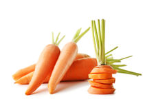 Ripe carrots. Fresh and ripe carrots isolated on white Stock Photos