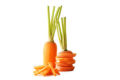 Ripe carrots. Fresh and ripe carrots isolated on white Royalty Free Stock Photos