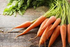 Ripe carrots. Fresh and ripe carrots on wooden table Stock Image