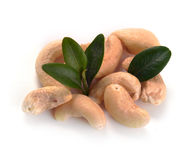 Ripe cashew nuts with leaves Stock Images