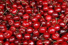 Ripe cherries background. Background of ripe red cherries or cherry fruit Royalty Free Stock Photos