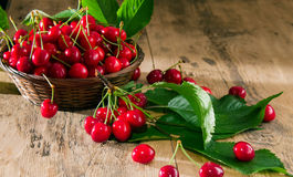 Ripe cherries in a basket Stock Photography