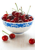 Ripe cherries in a bowl Stock Photo