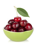 Ripe cherries in a bowl Stock Images