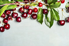 Ripe cherries with branches and leaves, border Royalty Free Stock Photography
