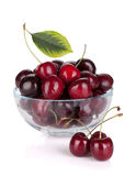 Ripe cherries in a glass bowl Royalty Free Stock Photo
